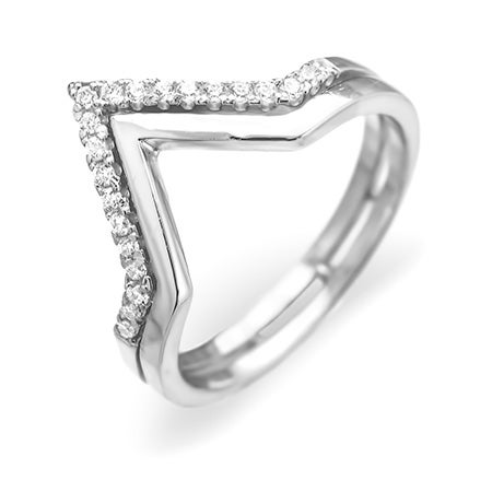 Double Chevron CZ Sterling Silver Ring | Eve's Addiction®