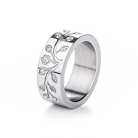 Engravable Tree of Life CZ Stainless Steel Ring | Eve's Addiction®