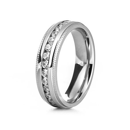 Men's CZ Engravable Eternity Band with Milgrain Edge | Eve's Addiction®