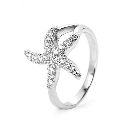Pave CZ Sterling Silver Starfish Ring | Eve's Addiction®