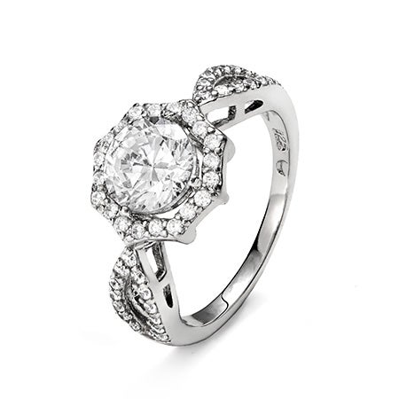 Elegant 7mm Brilliant Cut Halo CZ Engagement Ring | Eve's Addiction®