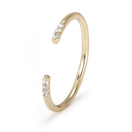 Dainty Gold Plated Open Cuff Ring with CZs | Eve's Addiction®