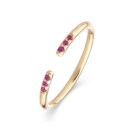 Shashi Minimalist Yellow Gold Ava Ring in Ruby | Eve's Addiction®