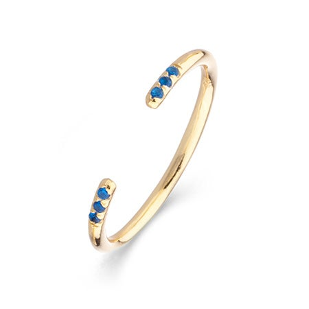 Ava Gold Thin Cuff Ring in Sapphire by Shashi | Eve's Addiction®