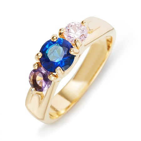 3 Stone Gold Custom Birthstone Ring