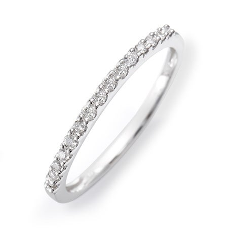 14K White Gold Diamond Thin Promise Ring