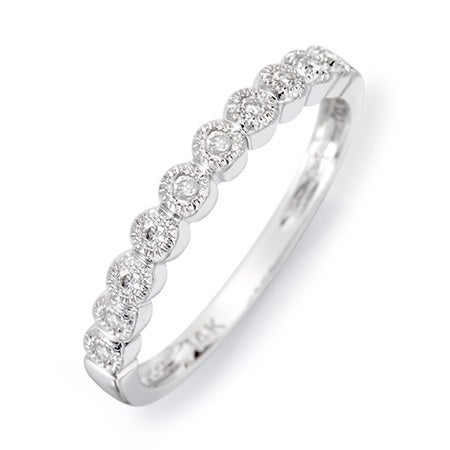 14K White Gold Milgrain Bubbles Diamond Ring