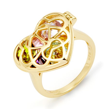 Custom Birthstone Gold Locket Ring | Eves Addiction
