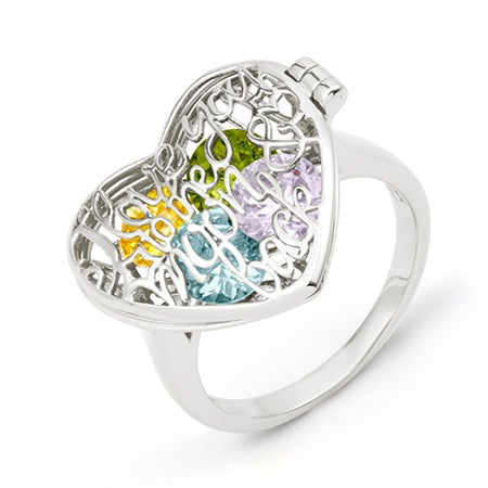 Custom Birthstone Silver Locket Ring | Eves Addiction