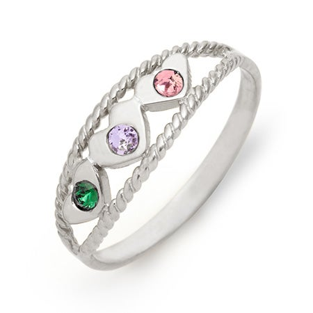 Silver 2 Hearts Custom Birthstone Ring | Eves Addiction