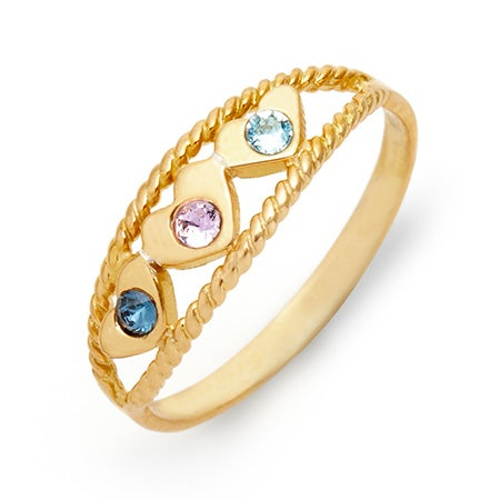3 Heart Custom Gold Birthstone Ring | Eve's Addiction