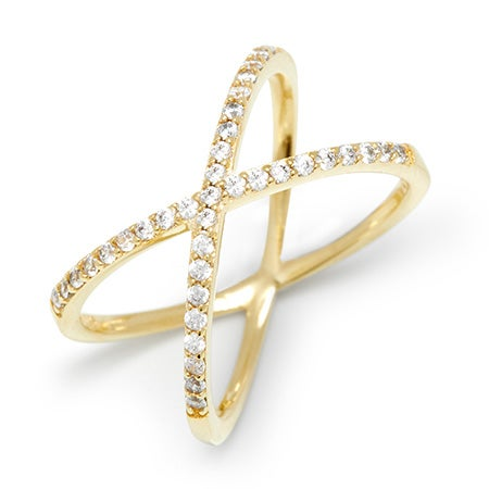 Cubic Zirconia Gold Criss Cross Ring | Eve's Addiction