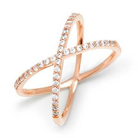 Cubic Zirconia Rose Gold X Ring | Eve's Addiction