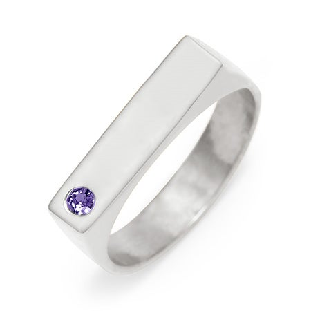Sterling Silver Single Stone Birthstone Name Bar Ring