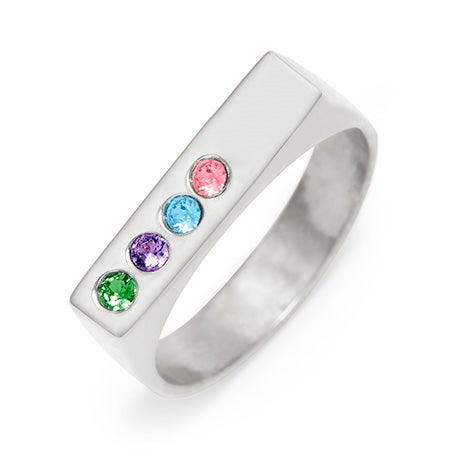 Engravable 4 Stone Birthstone Name Bar Silver Ring