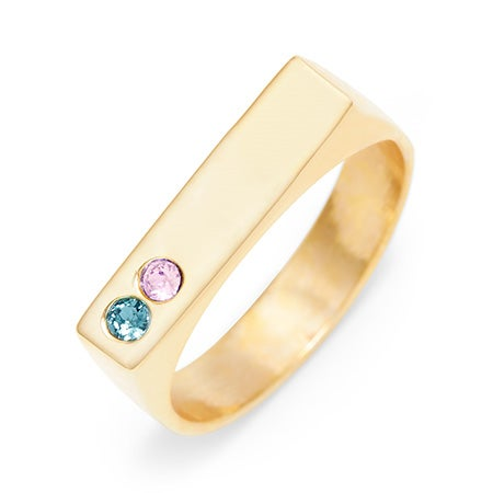 Two Birthstone Gold Plated Custom Name Bar Ring