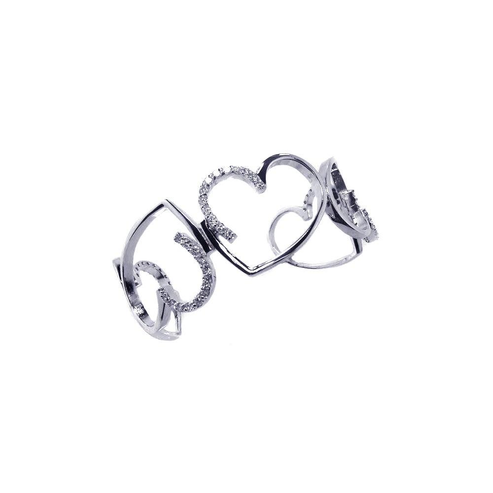 Sterling Silver CZ Alternating Hearts Journey Cuff Bracelet | Eve's Addiction®