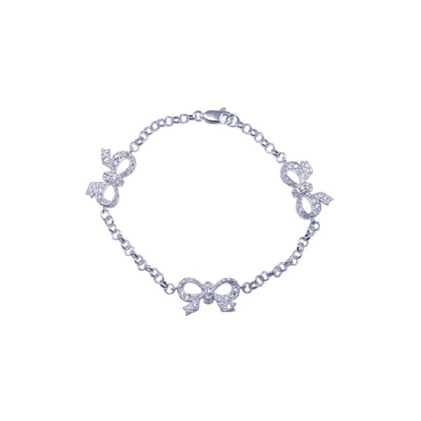 Sterling Silver CZ Triple Bow Bracelet | Eve's Addiction®