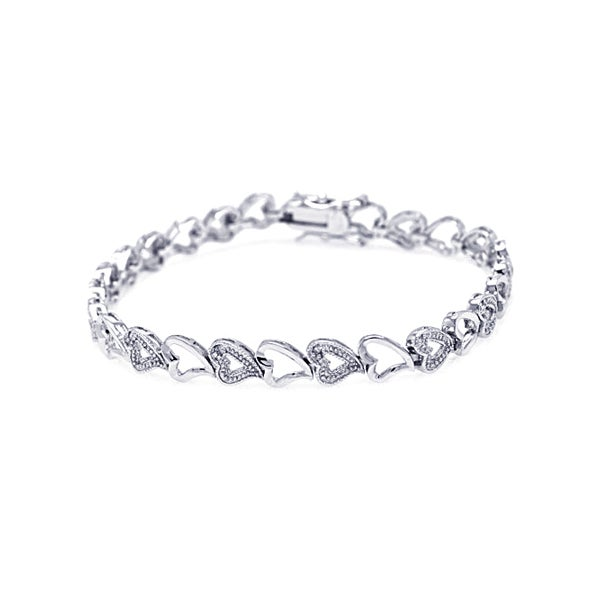 Sterling Silver CZ Alternating Hearts Tennis Bracelet | Eve's Addiction®