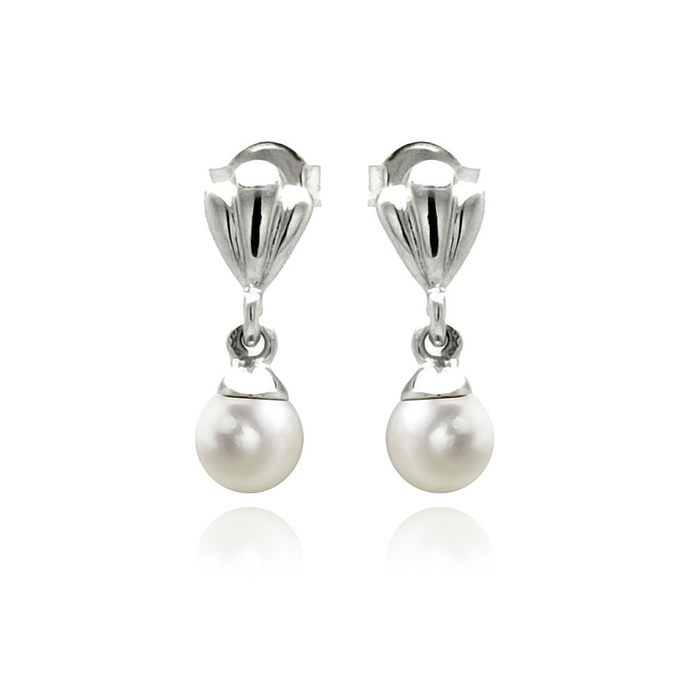 Sterling Silver Clam and Pearl Dangle Earrings | Eve's Addiction®