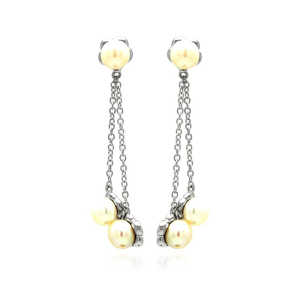 Sterling Silver Triple Pearl Flower Dangle Earrings | Eve's Addiction®