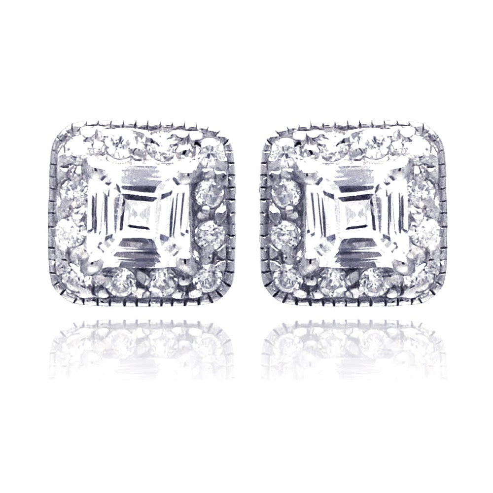 Dazzling Princess Cut CZ Studs with Brilliant Cut CZ Border | Eve's Addiction®