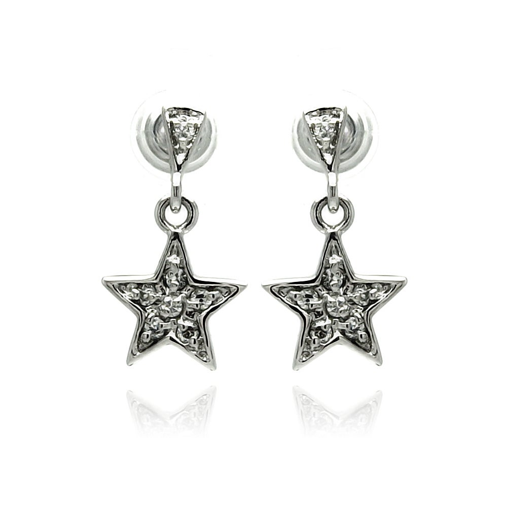 Sterling Silver and CZ Shooting Star Dangle Earrings | Eve's Addiction®