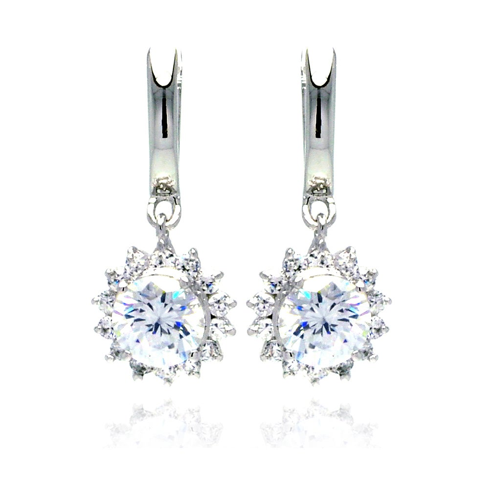 Shimmering 2 Carat Brilliant Cut CZ Flower Dangle Earrings | Eve's Addiction®