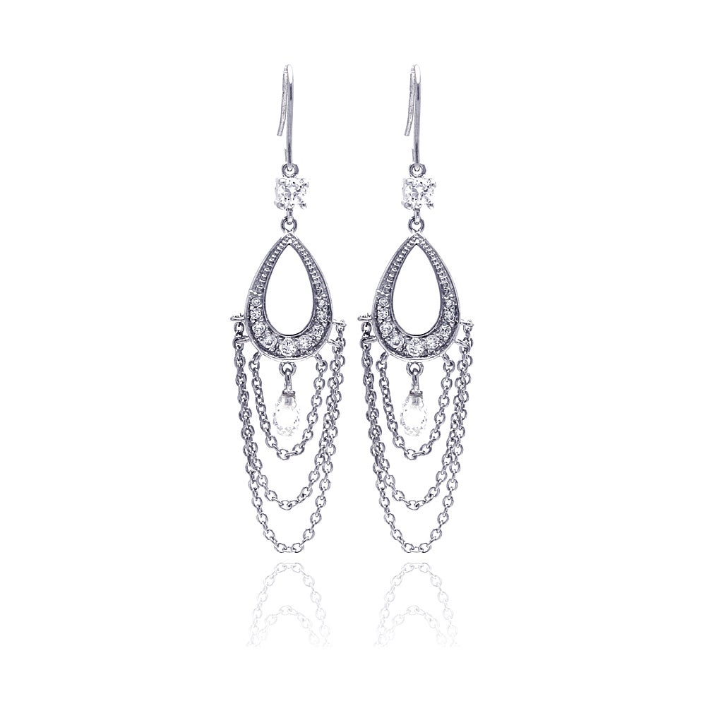 Sterling Silver Triple Chain with Oval CZ Chandelier Earrings | Eve's Addiction®
