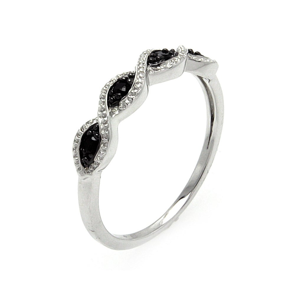 Intertwined Black and Clear CZ Wave Band | Eve's Addiction®