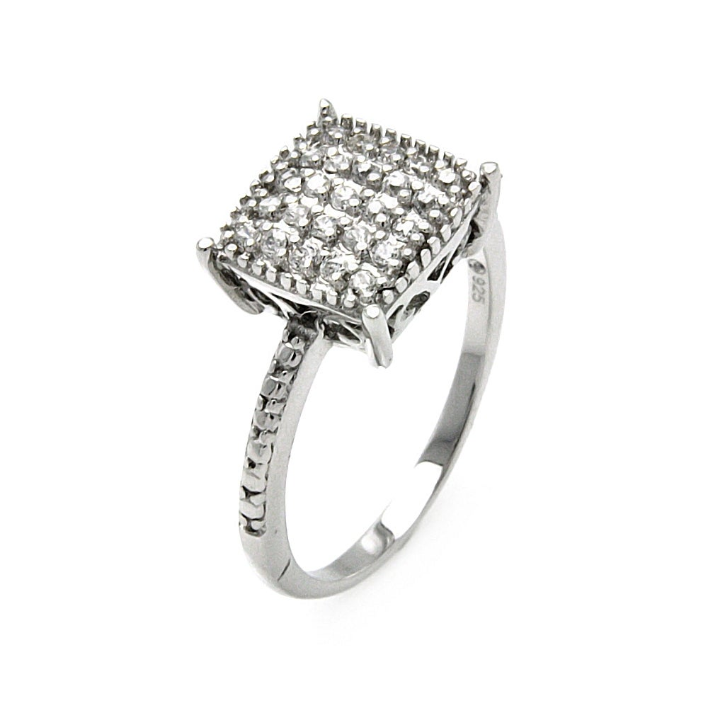 Princess Cut Pave Set CZ Cocktail Ring | Eve's Addiction®
