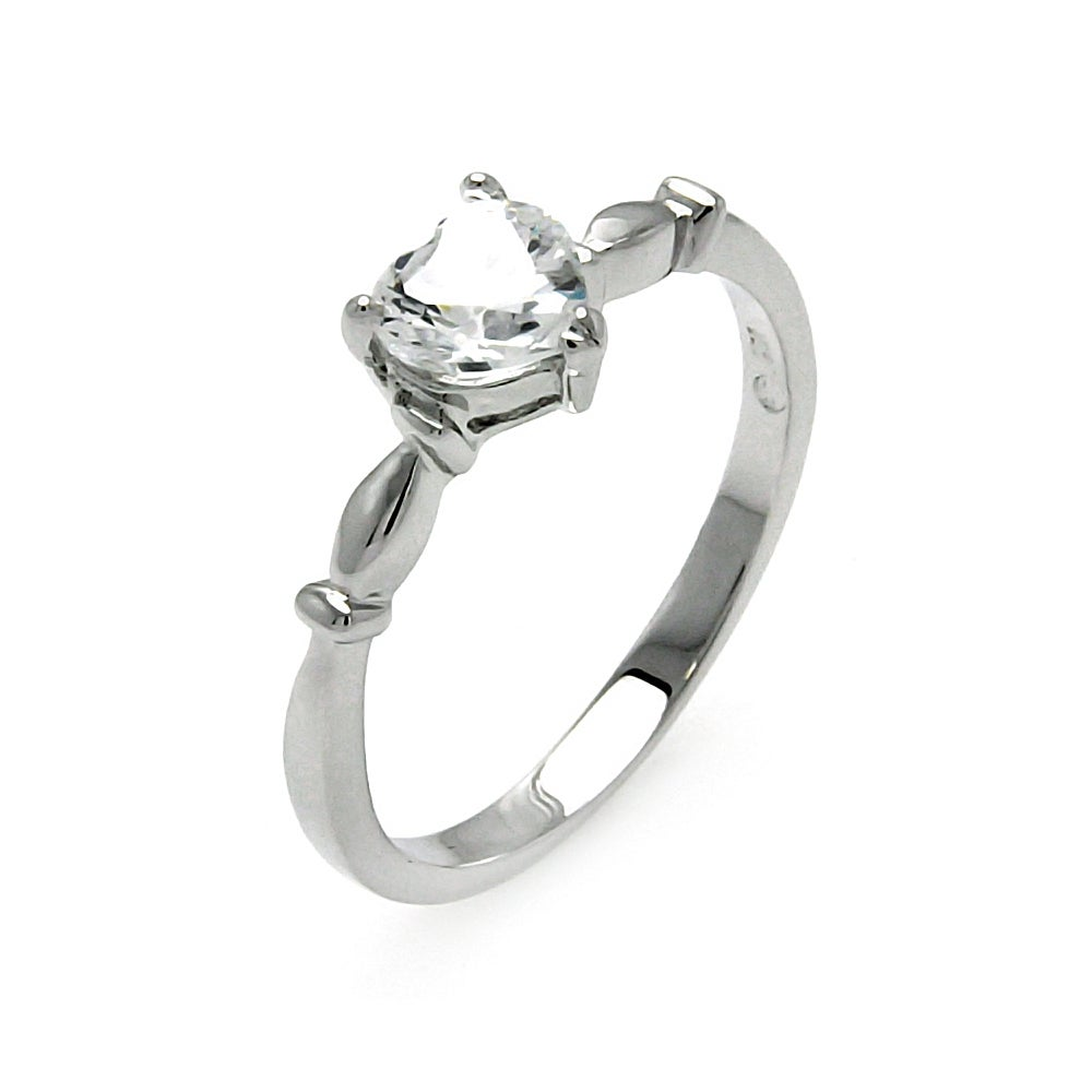 Sterling Silver Single CZ Heart Promise Ring | Eve's Addiction®