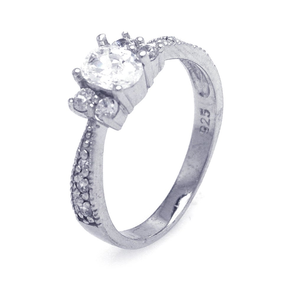 Sterling Silver Oval Cut Vintage Style Ring with CZ Accents | Eve's Addiction®