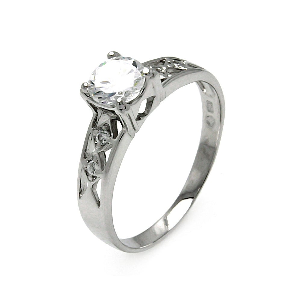 Vintage Deco Style Diamond Cut CZ Engagement Ring | Eve's Addiction®