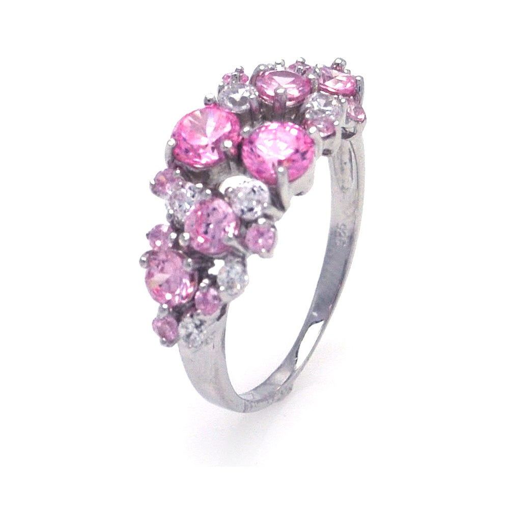 Dazzling Bouquet of Pink and Clear CZs Ring | Eve's Addiction®