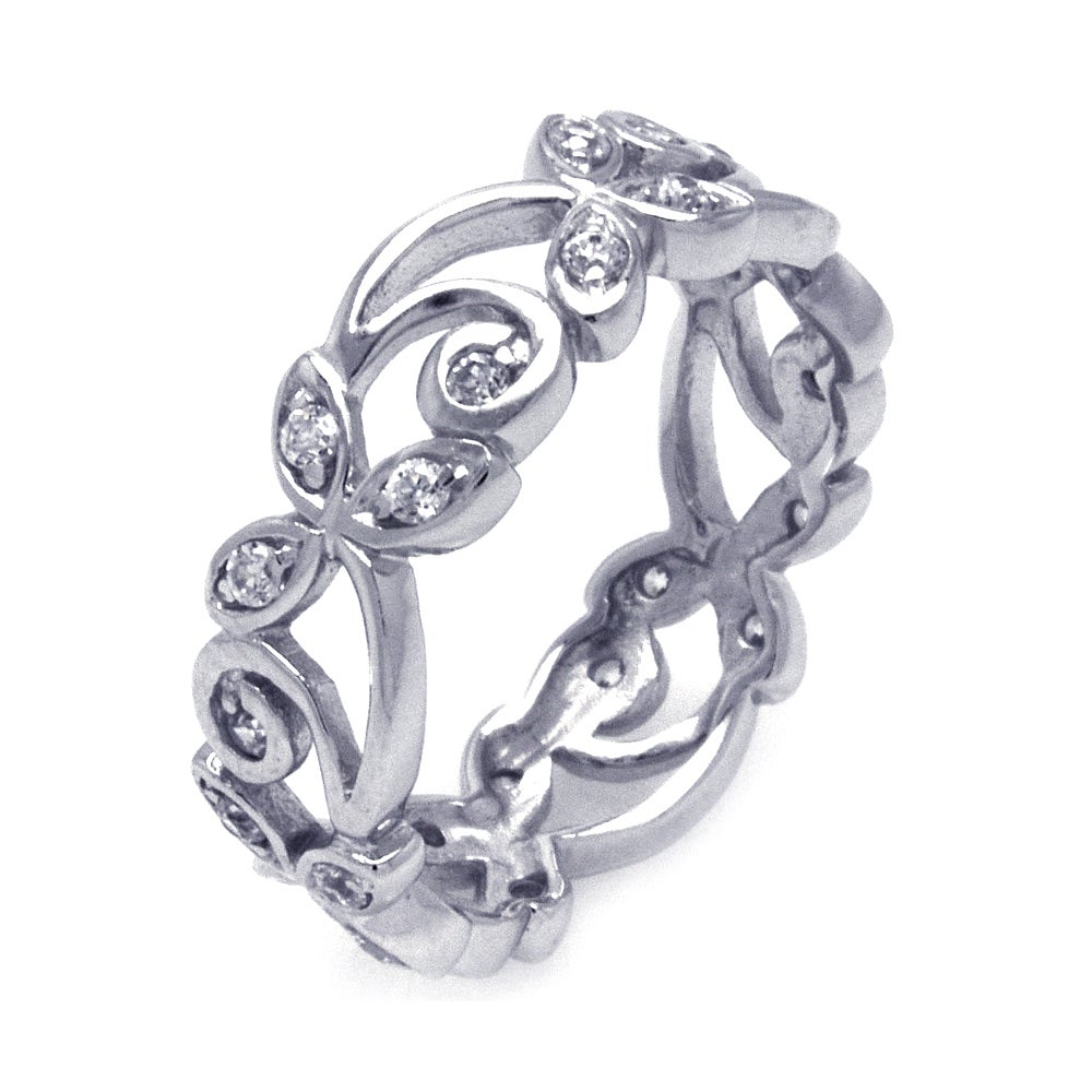 Sparkling Band of Leaves CZ Ring | Eve's Addiction®