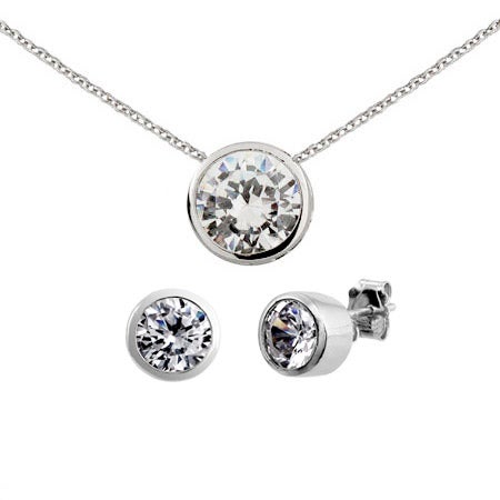 Designer Style Bezel Set CZ Earrings & Necklace Set | Eve's Addiction®