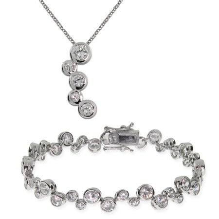 Sterling Silver Bubbles Tennis Bracelet and Necklace Set | Eve's Addiction®