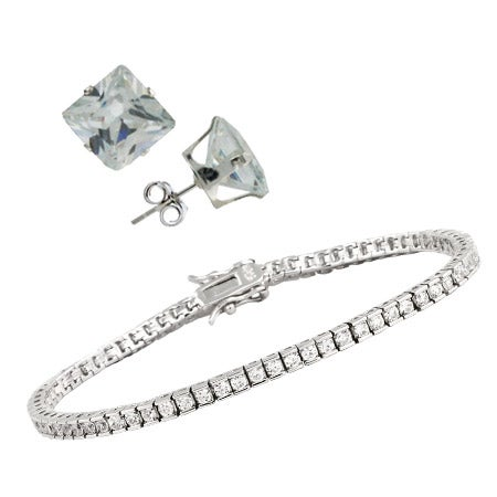 CZ Tennis Bracelet and Earring Set | Eve's Addiction®