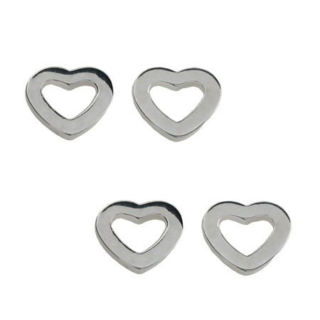 Designer Style Sterling Silver Heart Link Stud Earrings- 2 Pair Special!