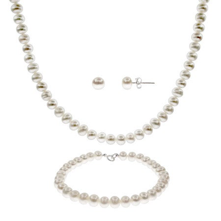 6mm Freshwater Pearl Necklace, Bracelet & Earring Set | Eve's Addiction®