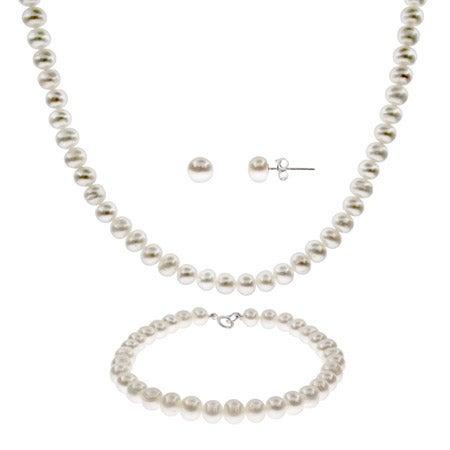 6mm Freshwater Pearl Necklace, Bracelet & Earring Set | Eve's Addiction®