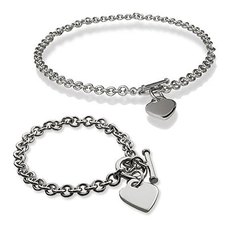 Heart Tag Bracelet and Necklace Set