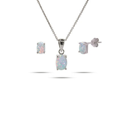 Silver Oval Opal Solitaire Pendant & Earring Set