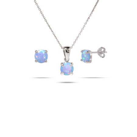 Sterling Silver Round Blue Opal Necklace & Earring Set