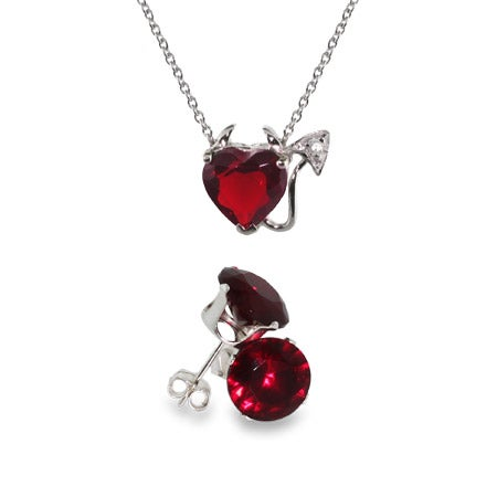 CZ Devilish Heart Pendant and Ruby Stud Set