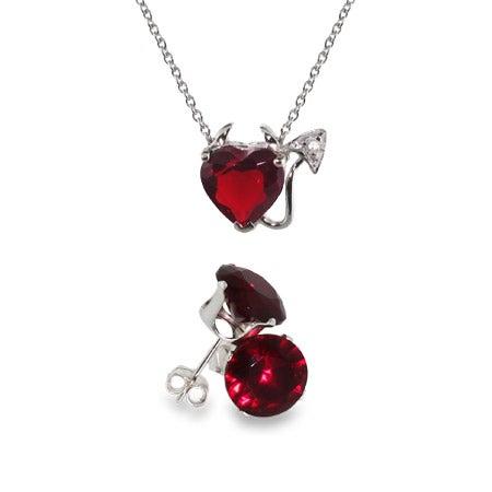 CZ Devilish Heart Pendant and Ruby Stud Set