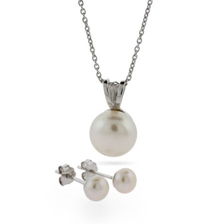 Freshwater Pearl Silver Pendant and Earring Set | Eve's Addiction®