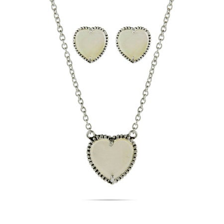 Designer Inspired Mother Of Pearl Heart Necklace and Earring Set