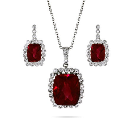 Ruby Necklace and Earring Set with Vintage Bezel CZs